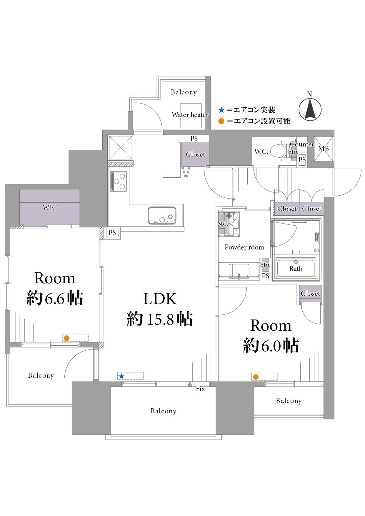 1101号室 2LDK+WIC/6,700万円